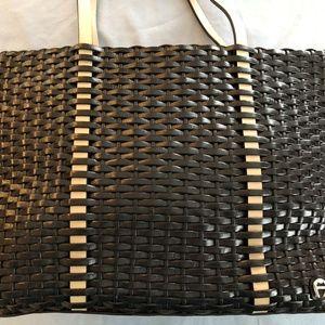 Etienne Aigner Leather Black & Tan Tote Bag Purse